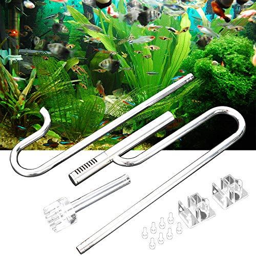 WUPYI2018 Edelstahl Aquarium Fish Tank Filter, Rohr Lily Pipe Zufluss Abfluss Rohre Aquarium Wasseroberfläche Skimmer Filterrohr (12mm)