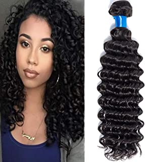 Cranberry Hair Brazilian Virgin Hair Deep Wave Weft Remy Human Hair One Bundle Weave 100% Unprocessed Hair Extensions Natural Color 20Inch (100+/-5g)/bundle Can be Dyed and Bleached 100G