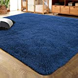 LOCHAS Ultra Soft Indoor Modern Area Rugs Fluffy Living Room Carpets for Children Bedroom Home Decor Nursery Rug 4x5.3 Feet, Light Navy