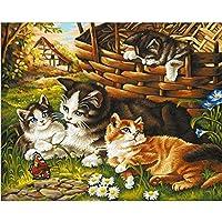 クロスステッチ 大人のためのクロスステッチキット 庭の子猫 40x50cm 11CT番号別刺繍キット手作りキットパンチ針刺繍DIY初心者向け手作りスターターキット
