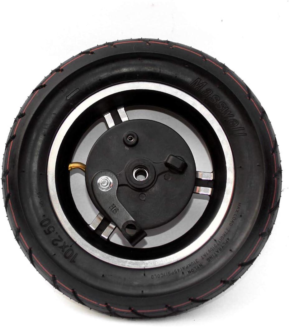 Rueda de 10 Pulgadas con Freno 10x2.50 Rueda inflada con Tubo Interior y Freno de expansión Cable de Freno de 180 cm para Scooter Rueda Trasera (Wheel Only)
