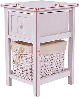 WEDF Table d'appoint Table de Chevet Moderne Table de Chevet Casier en Bois Table d'appoint avec tiroir et Panier de Range...