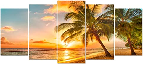 Wieco Art Cozy Sea Extra Large Modern Ocean Sunset Sea Beach Canvas Prints Pictures Paintings on Canvas Wall Art for Home Decor 5 Panels Gallery Wrapped Tropical scenery Seascape Giclee Artwork