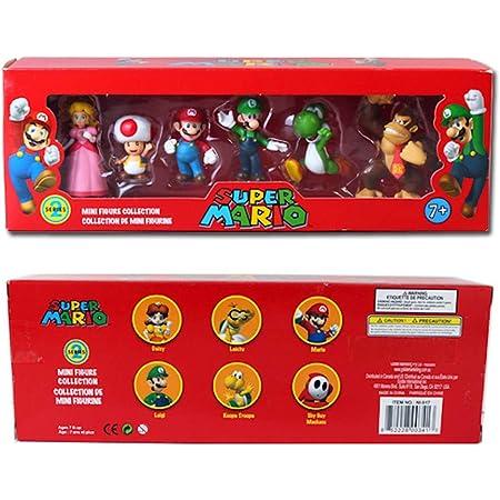 EASTVAPS 6 Unids / Set Super Mario Bros PVC Figura de Acción Muñeca de Juguete Mario Luigi Yoshi Burro de Hongos