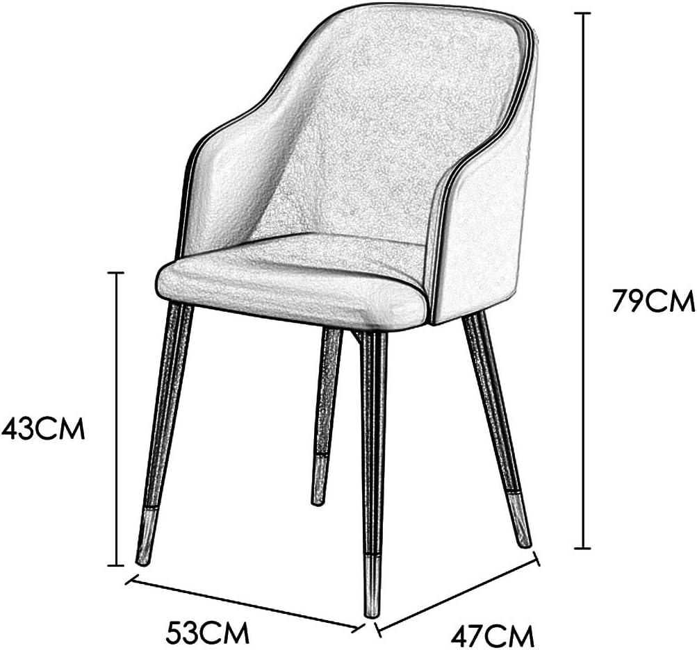DXZ-Design Chaise de Salle à Manger en Tissu (Simili Cuir) Dossiers de siège rembourrés Modernes Chaise de Loisirs avec accoudoir et Pieds en métal Black