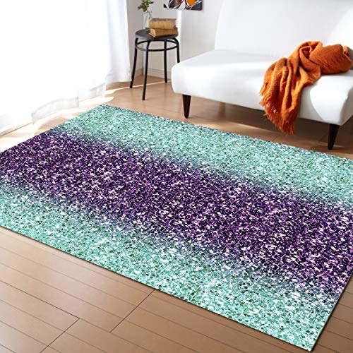 Fantasy Staring Non-Slip Area Rugs Room Mat- Purple and Teal Marble Home Decor Floor Carpet for High Traffic Areas Modern Rug Kitchen Mats Living Room Pads, 2'x3'
