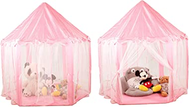 """FUNTRESS Princess Tent with Lights 55""""x53"""" Kids Play Tent Large Playhouse with Star Light Birthday Gift for Party, Indoor & Outdoor Toy"""