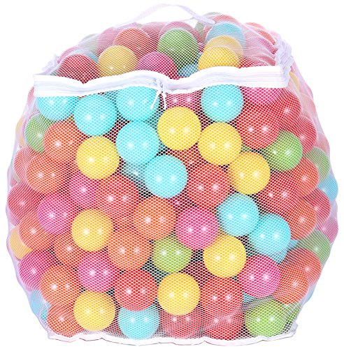 BalanceFrom 23Inch Phthalate Free BPA Free NonToxic Crush Proof Play Balls Pit Balls 6 Bright Colors in Reusable and Durable Storage Mesh Bag with Zipper 400Count