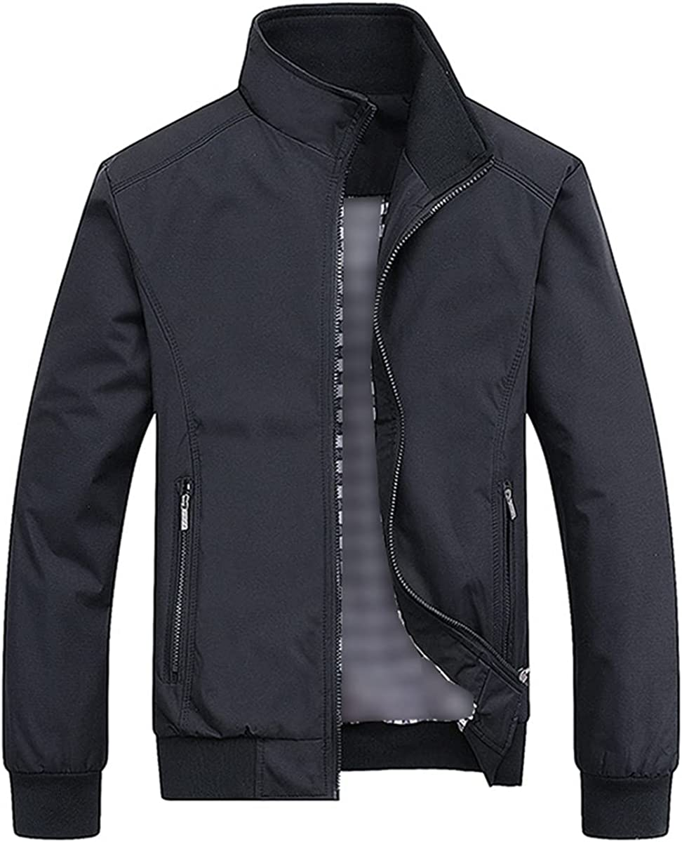 Fashion Men's Casual Solid Color Fashion Slim-Fitting Bomber Jacket Coat Baseball Jacket