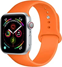 BOTOMALL Compatible with Iwatch Band 38mm 40mm 42mm 44mm Classic Silicone Sport Replacement Strap Bracelet for Iwatch All Models Series 5 Series 4 Series 3 2 1 (Orange,42/44mm S/M)