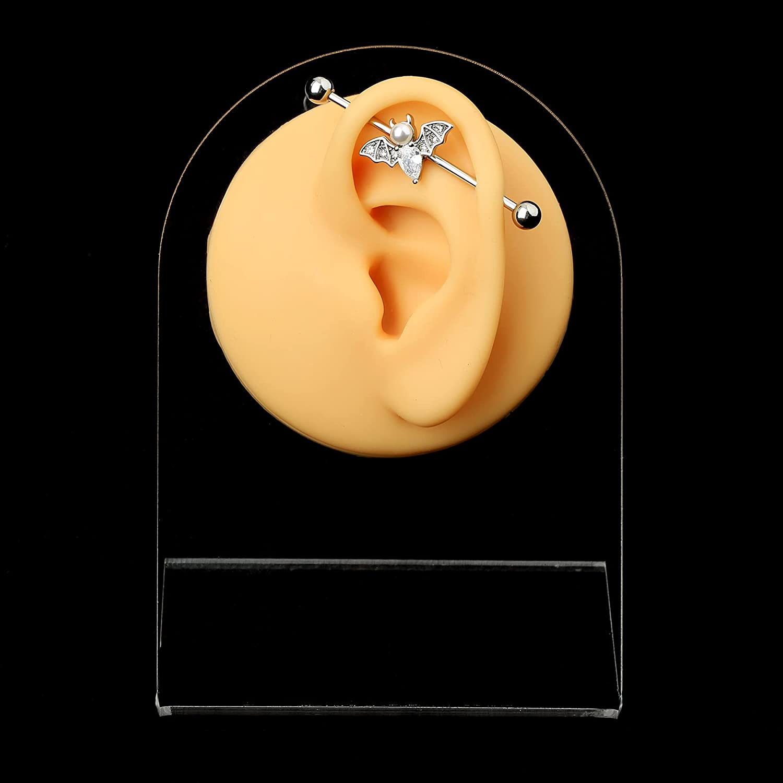 JEWSEEN Industrial Barbell Bat Industrial Ring 14g Industrial Piercing Sparkling CZ Industrial Jewelry Halloween Body Piercing Jewelry for Women