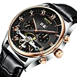 KINYUED Stainless Steel Automatic Tourbillion Brown/Black Genuine Leather Band Men's Watch - Black