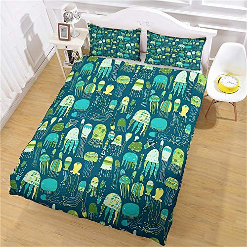 QNZOR Duvet Cover Sets Pillowcases Bedding Single Jellyfish Print Polyester Breathable 2 pillowcases with Zipper Boys Girls Home Decoration 53.15 x 78.74 inch