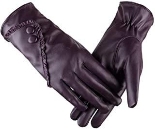 WUXiaodanDan Women's leather gloves autumn and winter plus velvet warm gloves driving windproof gloves