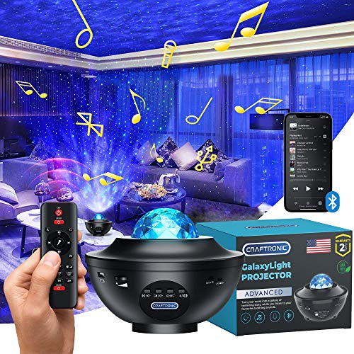 Proyector Starlight - Luz nocturna Galaxy | CRAFTRONIC 360 Sky LED Nebulosa Nube Ocean Wave | Pro Space Universe Space Star Laser |...