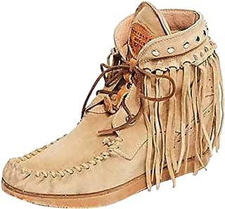 Fauean Women's Tassel Bootie Fringe Hidden Wedge Heel Ankle Boots