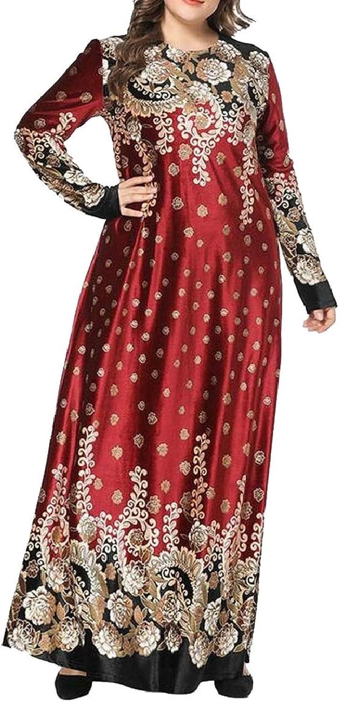 LKCENCA Womens Jilbab Muslim Long Sleeve Maxi Abaya Crewneck Printed Velour Dress