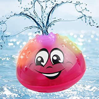 Sopu Spray Water Baby Bath Toy, Waterproof Light-up Induction Sprinkler Toys Kids Bathtime Fun Toys with Colorful Lights & Automatic Spray Water Function Bathtub Toy for Toddlers Infant (Red)