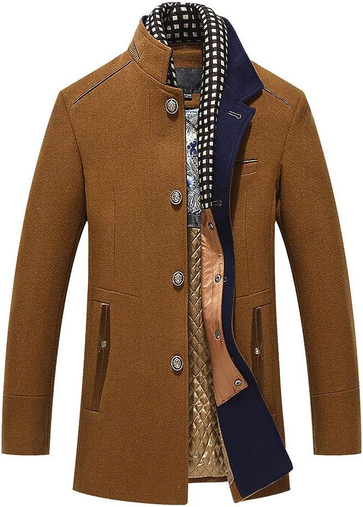 Allywit Men's Woolen Trench Coat Long Fashion Slim Fit Winter Overcoat Outwear Parka