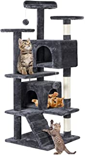 Yaheetech Cat Tree Tower with Sisal-Covered Scratching Posts Platforms and Condo 51in