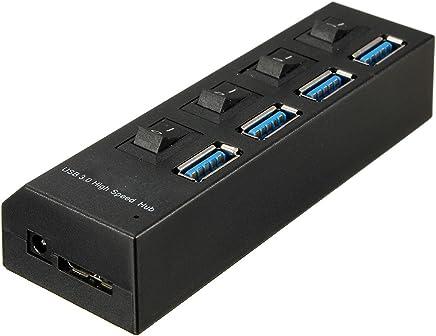 SODIAL(R) 4 Ports USB 3.0 HUB Verteiler Adapter + Kabel und Netzteil UK EU Stecker Reise