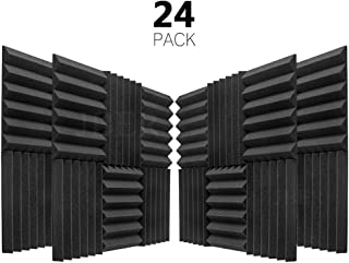 "JBER 24 Pack Charcoal Acoustic Panels Studio Foam Wedges Fireproof Soundproof Padding Wall Panels 2"" X 12"" X 12"""
