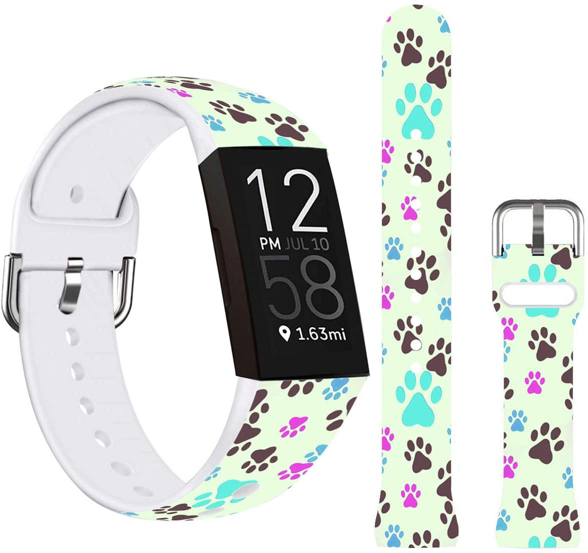 Paw Bands for Charge 4,Ecute Small Soft Silicone Waterproof Fashion Sport Replacement Wristband Strap Compatible with Fitbit Charge 4/Charge 3/3 SE Ecute Small Size - Color Dog Paw
