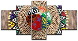 Skipvelo African Ndebele Candle mozambiques and Pictures Wall Art Canvas Prints Pictures Paintings Artwork Home Decor Stretched and Framed - 5 Pieces