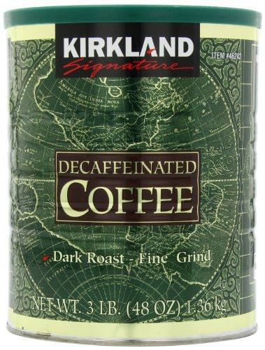 Kirkland Signature Dark Roast Fine Grind Decaf Arabica Coffee, 48 Ounce