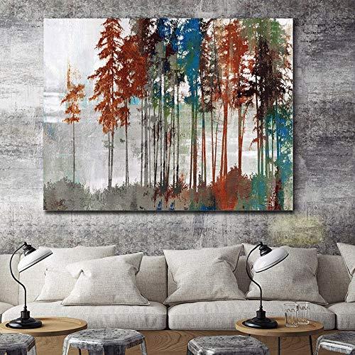YuanMinglu Natürliche Waldlandschaft Wasserrad Leinwand Malerei Poster und Foto Wandkunst Bild Home Schlafzimmer Wanddekoration Rahmenlose Malerei50x75cm