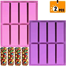 (2 Pcs) 8-Cavity Chocolate Granola Cereal Energy Bar Mold, 4.5 Inch Rectangle Silicone Mold for Chocolate Truffles Ganache Bread Brownie Cornbread Cheesecake Pudding Butter Mould