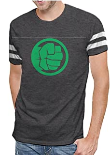 The Incredible Hulk Green Fist Logo Mens Varsity Charcoal Heather T-Shirt
