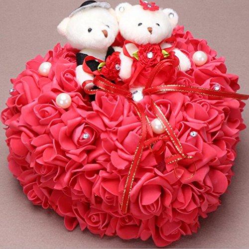 bpblgf Coeur Romantique en Forme de Coussin de Rose Alliance Boîte de Bague de Mousse 25 * 25CM, Red, 25 * 25cm