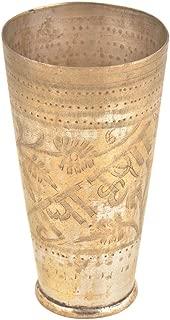 IndianShelf Handmade Decorative Radha Krishna Vintage Design Golden Brass Water Glass/Milk Cup/Lassi Tumbler