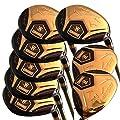 Japan WaZaki 14K Gold Finish Cyclone 4-SW Mx Steel Hybrid Irons Golf Club Set+Headcover (Regular Flex,Gold Graphite Shaft,Right Handed,Pack of 16)