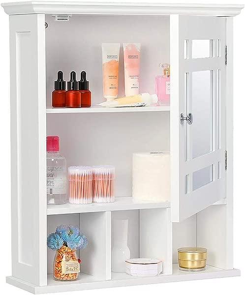 Yaheetech Bathroom Cabinet Organizer Wall Mounted Wooden Medicine Cabinet Storage With Mirror Doors Adjustable Shelf White