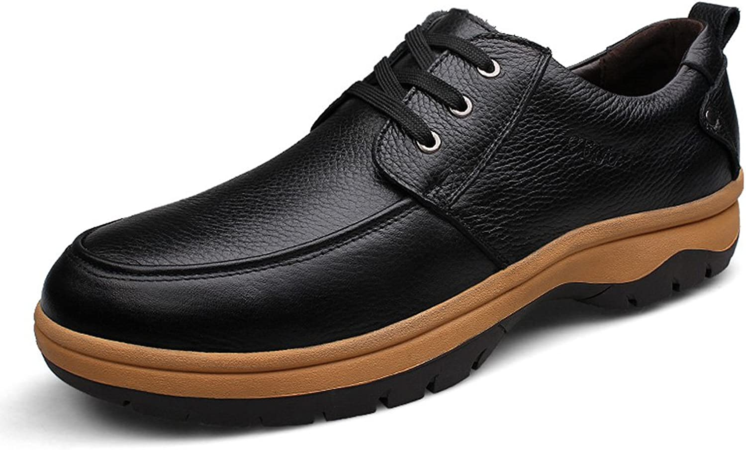Ailishabroy Men's Large Size Leather Oxfords Casual Low Top Lace Up shoes