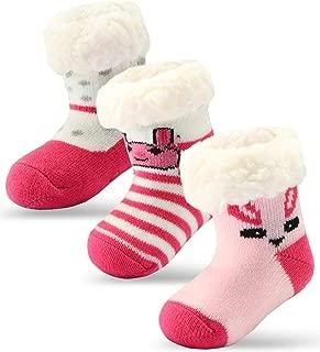 3 Pairs Newborn Infant Toddler Christmas Socks Baby Girls Boys Slipper Socks Sherpa-lined Kids Grips Socks Fuzzy Home Socks