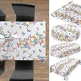 ANRO Wachstuch Tischdecke abwaschbar Wachstuchtischdecke Wachstischdecke Schmetterlinge Silber Bunt 200x140cm - 7