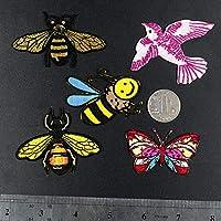 パッチ、Tシャツのジーンズ、ジャケット、バックパック、靴の装飾や修理に使用されます。漫画の小さな蜂の蝶の鳥5個