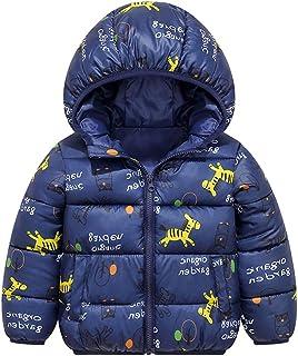 Chaqueta Bebé Niños Abrigo con Capucha para Niña Invierno Cálido Grueso Abrigo Caballo Azul 2-3 Años