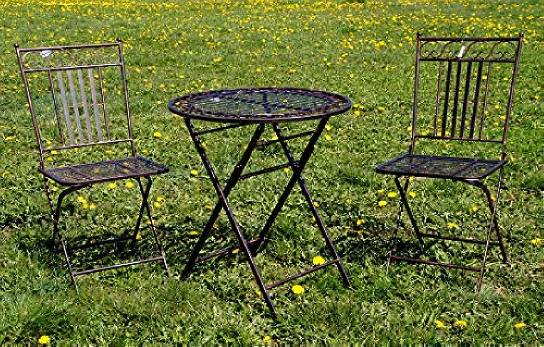 Krippenbaustudio Bhner Exklusive Sitzgruppe Culta, Gartentisch mit 2 Stühlen, Gartengarnitur, sehr stabile MeGrößeusführung, klappbar