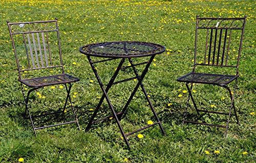 Krippenbaustudio Böhner Exklusive Sitzgruppe Culta, Gartentisch mit 2 Stühlen, Gartengarnitur, sehr stabile Metallausführung, klappbar