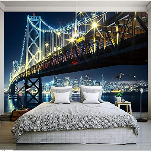 Mddj 3D Mural Wallpaper City Bridge At Night View woonkamer slaapkamer bank TV achtergrond behang muur decoratie 350x245cm