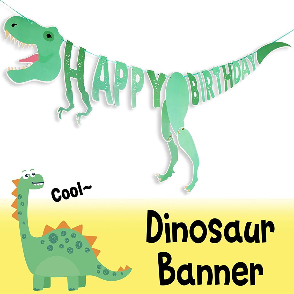 Dinosaur Party Happy Birthday Personalized DIY 3D Banner Sweet Baby Boy Girl Shower Baby First Birthday Kids Bday Photo Booth Party Decorations - Green
