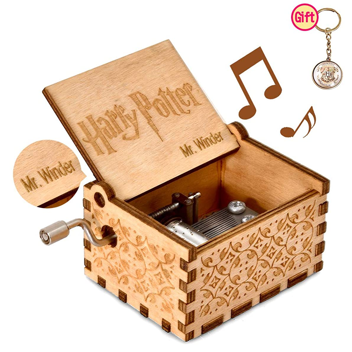Music Box for Hedwig-Theme, Merchandise Vintage Classic Wood Hand Crank Best Gift for Kids, Friends, Boys, Girls