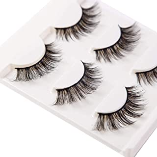 3D False Eyelashes Extensions 3 Pairs Long Mink Lashes Strip with Volume for Women's Makeup Handmade Soft Big Eye Lash Set...