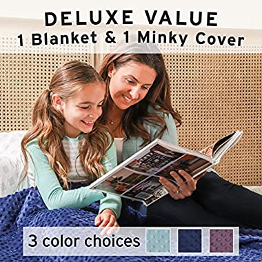 Weighted Blanket for Kids - For Heavy Stress Relief, Autism, Restless Leg Syndrome & natural calm - Gravity Blue 36x48  5 LBS- Weighted Blankets made from our best Relaxation Sleep Fabric