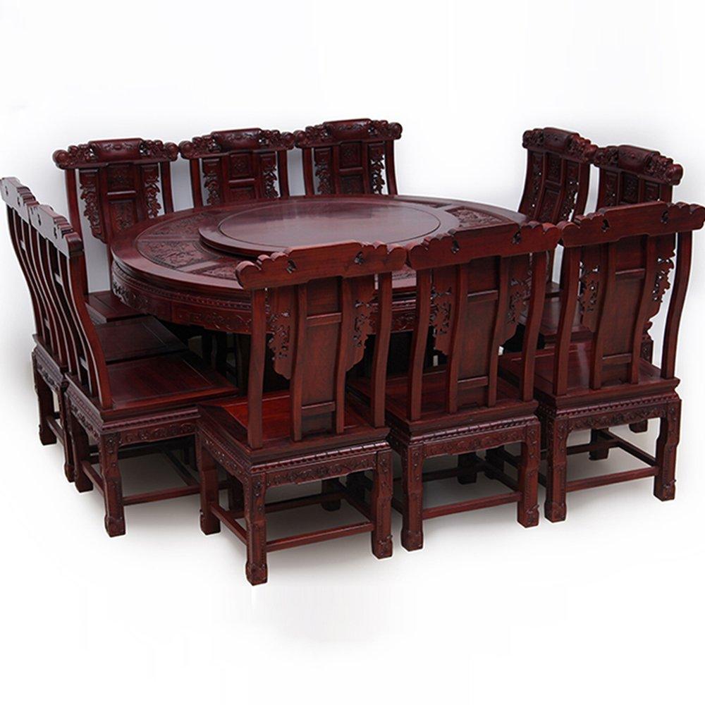 龙上龙マホガニーダイニングテーブルアフリカローズウッドラウンドダイニングテーブル刻まれたクラシックラウンドダイニングテーブルソリッドウッド中国の住宅家具家具の構造:ターンテーブルとブラケット構造表158(10椅子付き)