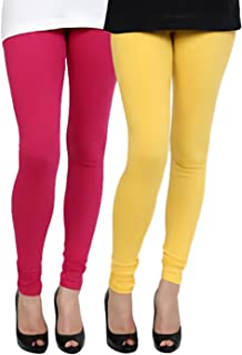 Swastik Stuffs Soft & Stretchable Cotton Lycra Churidar Free Size Leggings Combo Offer for Women (SSLYP2_Yellow,Pink)(Pack...